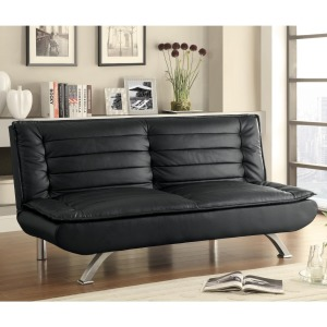 Sofa Beds and Futons - Sofa Bed with Channeled Pillow Top Cushioning in Black Leatherette