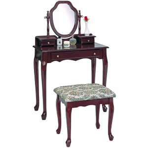 2-Piece Vanity Set With Upholstered Stool Brown Red