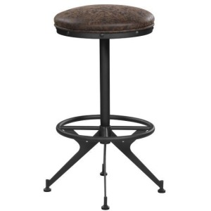 Backless Upholstered Bar Stools Two-Tone Brown
