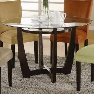Bloomfield Round Cross Table Base with Beveled Glass Top
