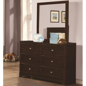 Ashton Collection Dresser and Mirror with 6 Drawers