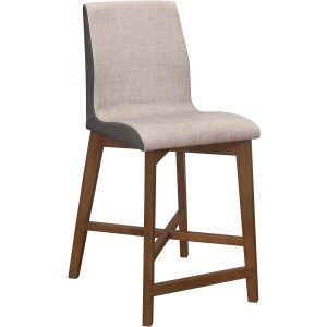 Upholstered Counter Height Stool - Light Grey & Natural Walnut