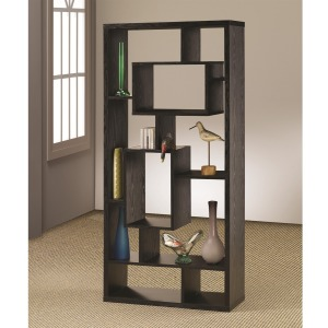 Bookcases Asymmetrical Cube Black Book Case with Shelves