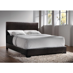 Conner Full Upholstered Panel Bed - Dark Brown