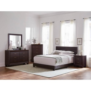 Dorian Brown Faux Leather Upholstered King Bed