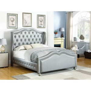 Belmont Grey Upholstered Queen Bed