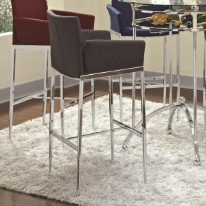 Bar Units and Bar Tables Linen Fabric Bar Stool (Charcoal)