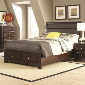 Jaxson California King Bed with Upholstered Headboard and Storage Footboard