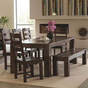 Calabasas Contemporary 7 Piece Table & Chair Set with Wavy Wood Grain