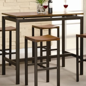 Atlus Counter Height Contemporary Black Metal Table with Warm Oak Top and 4 Stools