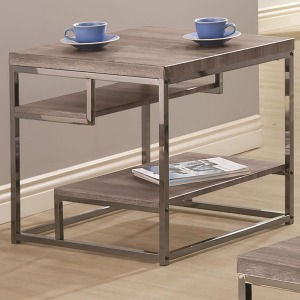 7037 2 Shelf End Table with Chrome Frame
