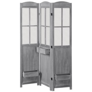 3-Panel Folding Screen With Planter Boxes Antique Grey