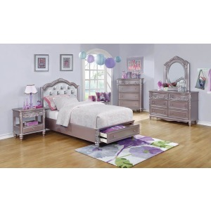 Caroline Metallic Lilac Full Storage Bed