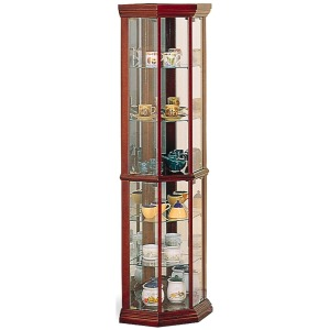 Curio Cabinets Solid Wood Cherry Glass Corner Curio Cabinet with 6 Shelves