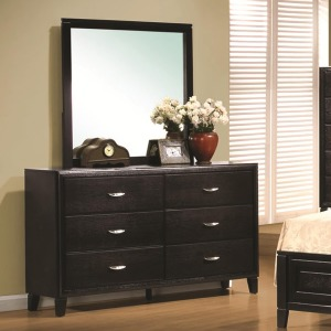 Nacey Contemporary 6 Drawer Dresser & Mirror Combo