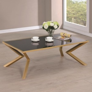 Black and Brass Angled Leg Coffee Table