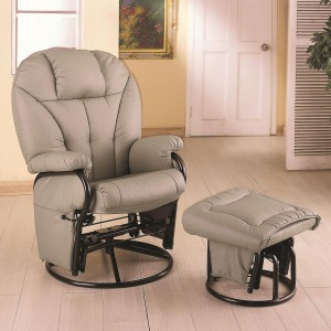 Recliners with Ottomans Leatherette Recliner with Matching Ottoman