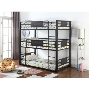 Casual Black Twin Triple Bunk Bed