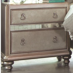 Bling Game Nightstand with 2 Drawers and Stacked Bun Feet