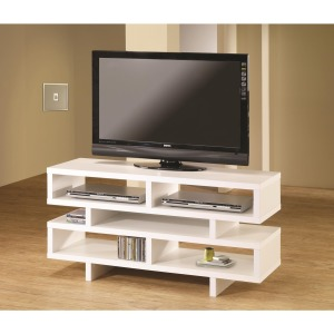 TV Stands Contemporary TV Console with Open Storage & White Finish