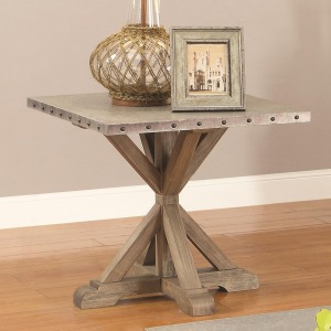 70374 Rustic End Table w/ Nailhead Trim