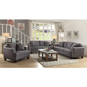 Samuel Charcoal Three-Piece Living Room Set