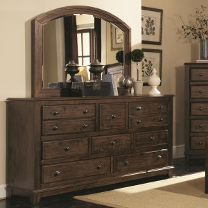 Laughton 8 Drawer Dresser and Rounded Mirror
