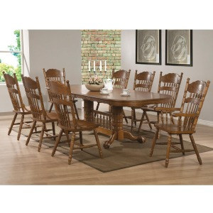 Brooks 9 Piece Table Set with Oak Finish Oval Trestle Table