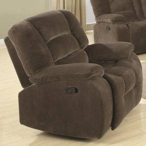 Charlie Casual Rocker Recliner in Soft Brown Upholstery