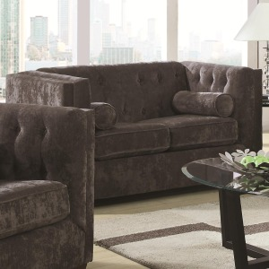 Alexis CH Transitional Chesterfield Stationary Loveseat with Track Arms