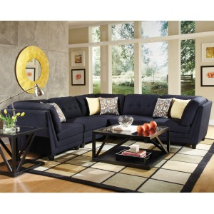 Keaton Transitional Five Piece Sectional Sofa with Button-Tufting