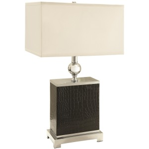 Table Lamps Black Faux Croc/Silver Finish Table Lamp