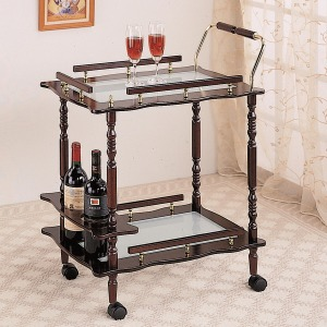Kitchen Carts Cherry Serving Cart with Frosted Glass Top & Casters