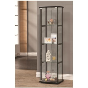 Curio Cabinets 4 Shelf Contemporary Glass Curio Cabinet