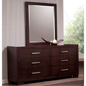 Jessica 6 Drawer Dresser and Wall Mirror