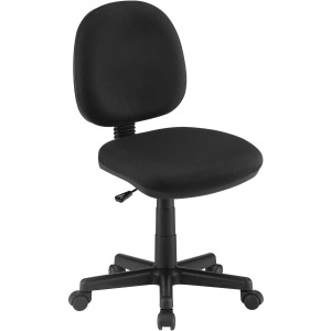 Armless Adjustable Height Office Chair Black