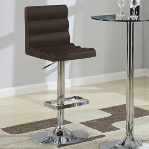 Bar Units and Bar Tables Contemporary Adjustable Brown Stool with Roll Back
