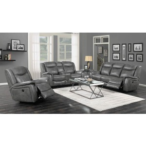 Conrad Transitional Grey Motion Loveseat