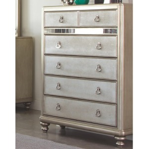 Bling Game Chest with 6 Drawers and Stacked Bun Feet