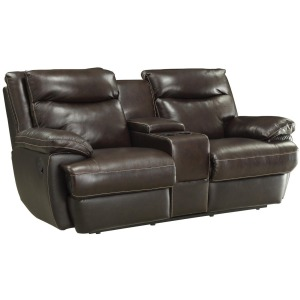 MacPherson Casual Leather Match Reclining Loveseat with Storage Compartment and Cupholders