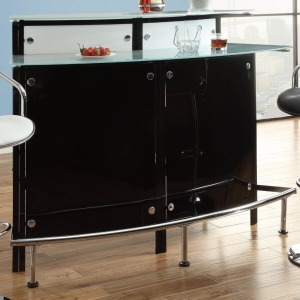 Bar Units and Bar Tables Arched Black Bar Table with Frosted Glass Counter Tops