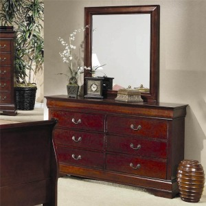 Louis Philippe 6 Drawer Dresser and Mirror Combination