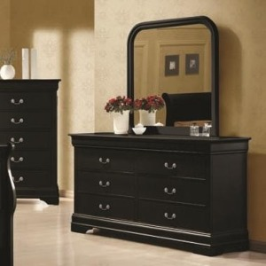Louis Philippe 6 Drawer Dresser and Vertical Mirror Combination