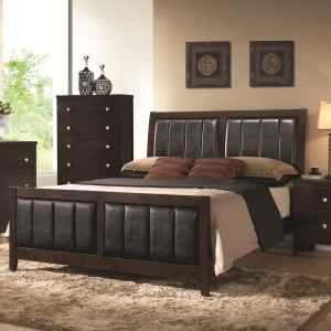 Carlton Upholstered King Bed with Paneled Upholstery