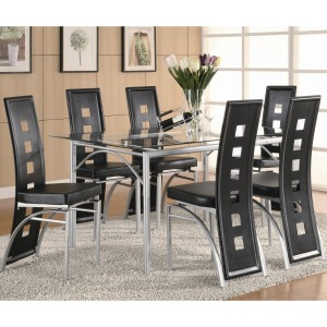 Los Feliz Contemporary Metal Table and Black Upholstered Chairs