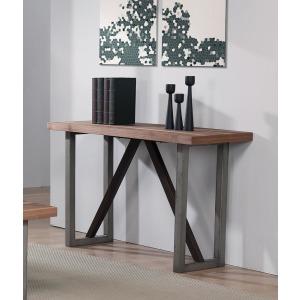 Industrial Walnut Sofa Table