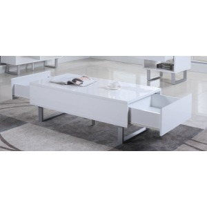 Contemporary Glossy White Coffee Table