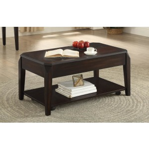 Transitional Walnut Lift-Top Coffee Table
