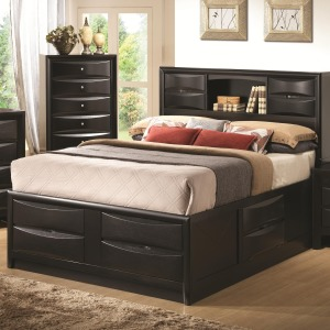 Briana King Contemporary Storage Bed with Bookshelf
