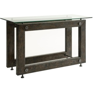 70427 Industrial Sofa Table with Tempered Glass Top